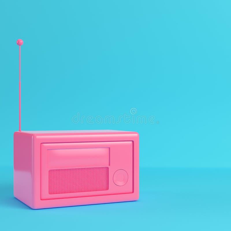 Roze retro gestileerde radio op heldere blauwe achtergrond in pastelkleurcolo stock illustratie