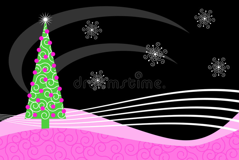 Roze Retro Kerstmis royalty-vrije illustratie