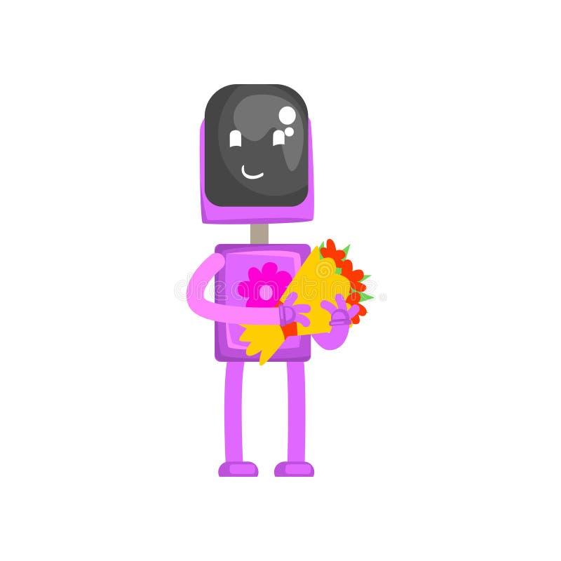 Roze robotkarakter met boeket van bloemen in zijn handen, androïde bloemist of vectorillustratie van het koeriersbeeldverhaal royalty-vrije illustratie