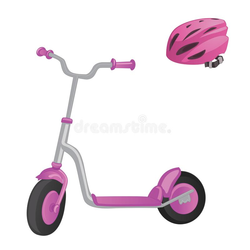 Roze rolautoped en helm voor kinderen Saldofiets Het vervoer van de Ecostad De vectorinzameling van de schopautoped Geïsoleerde d royalty-vrije illustratie