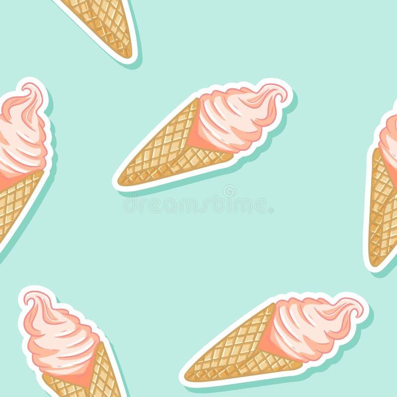 Roze roomijs in het naadloze patroon van de wafelkegel Leuke van de achtergrond beeldverhaalstijl hand getrokken textuurtegel stock illustratie