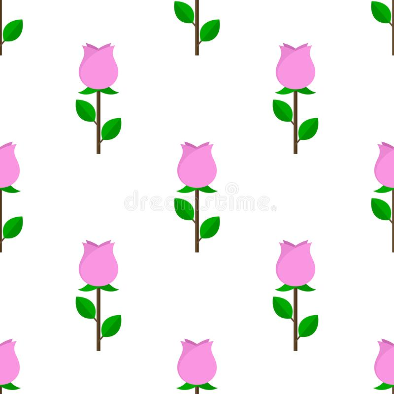 Roze Rose Flat Icon Seamless Pattern royalty-vrije illustratie