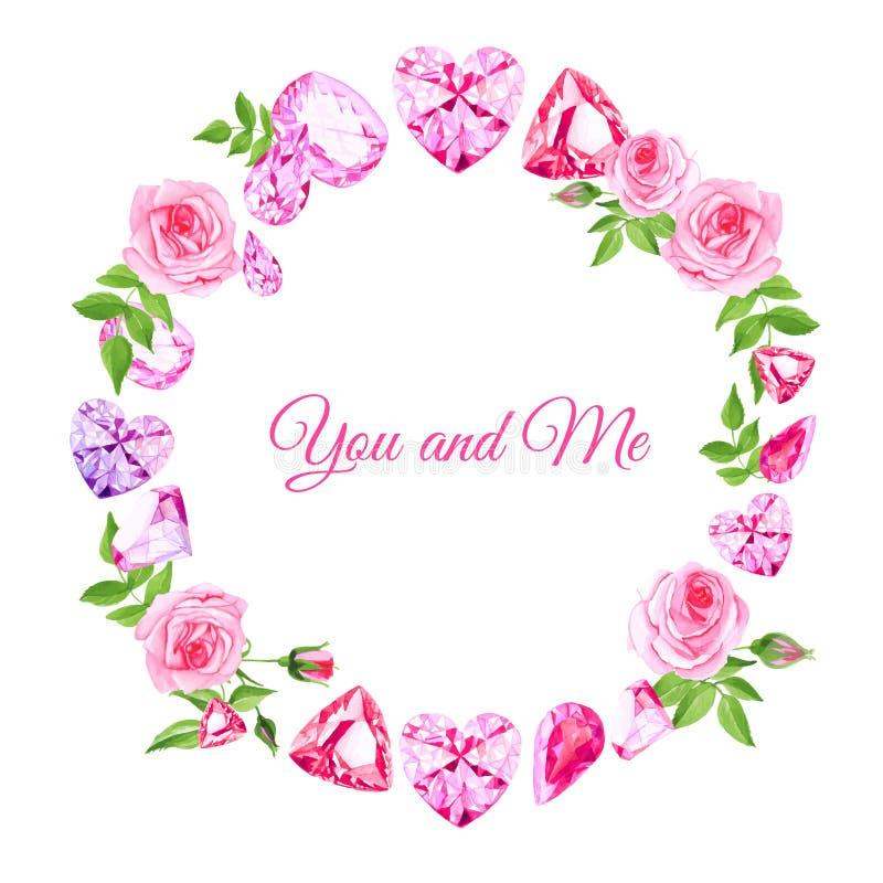Roze rozen en diamanten uitstekend vectorontwerpkader stock illustratie