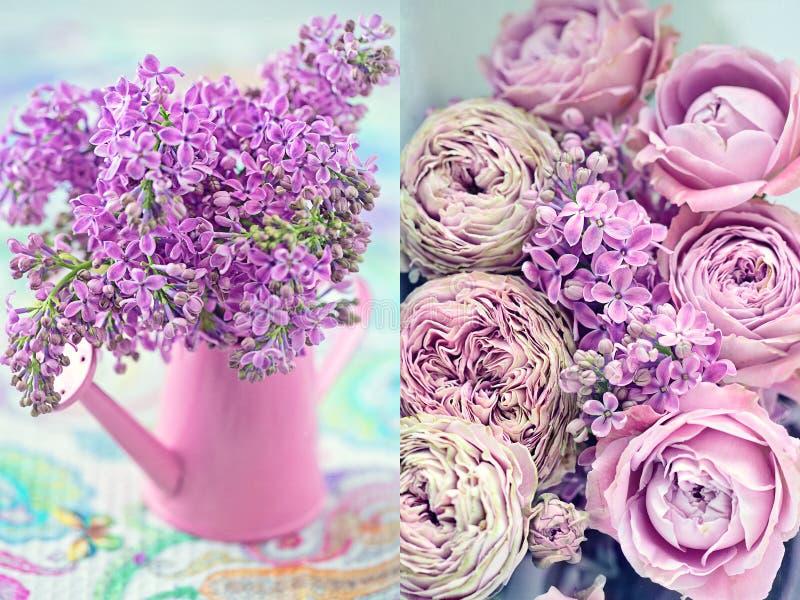 Roze rozen en seringen stock afbeelding
