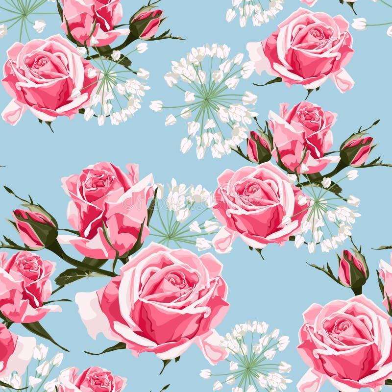 Roze rozen en wit kruiden naadloos patroon vector illustratie