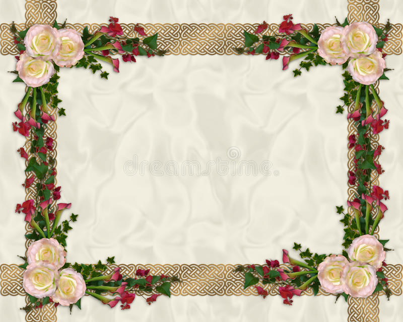Roze rozen exotische bloemengrens vector illustratie