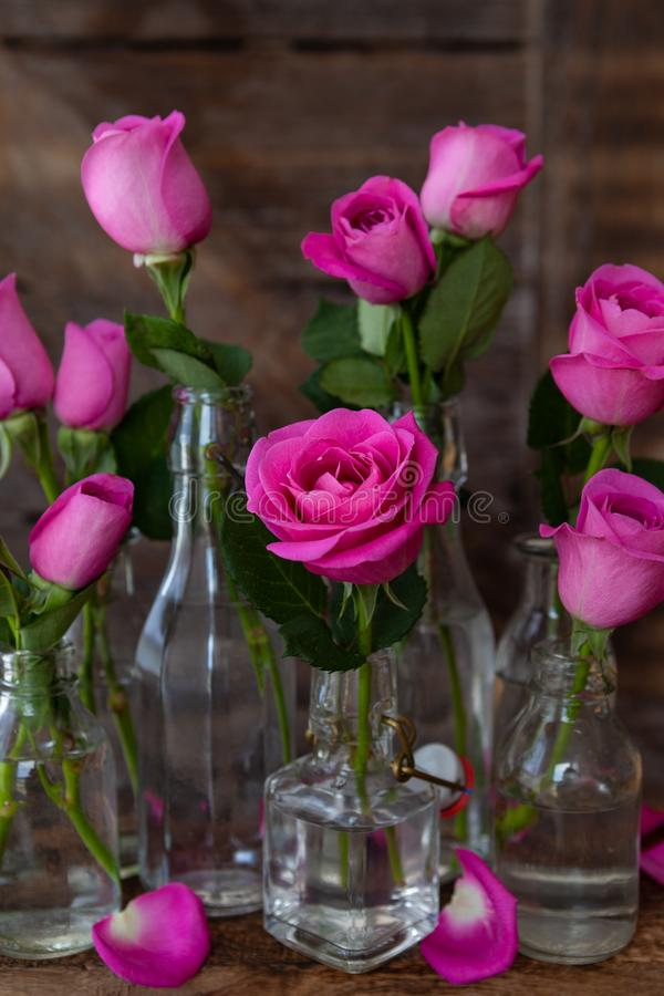Roze rozen in kleine flessen royalty-vrije stock afbeelding