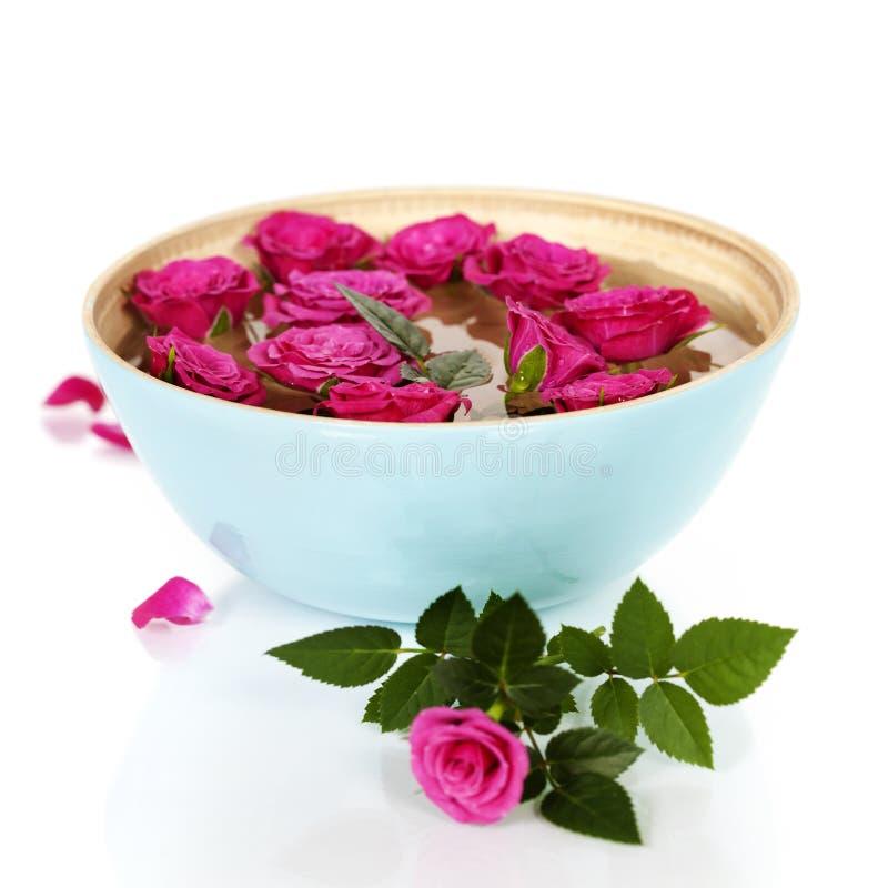 Roze rozen in kom stock foto's
