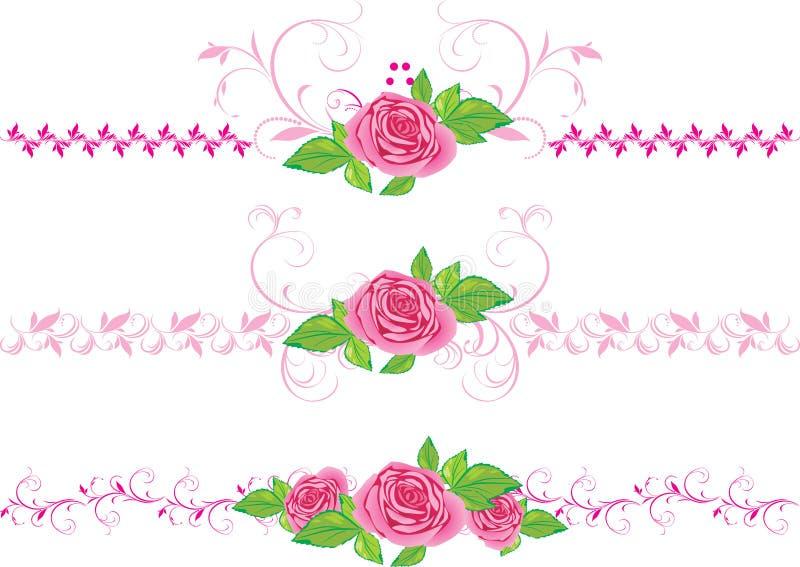 Roze rozen met ornament. Drie decoratieve grenzen vector illustratie