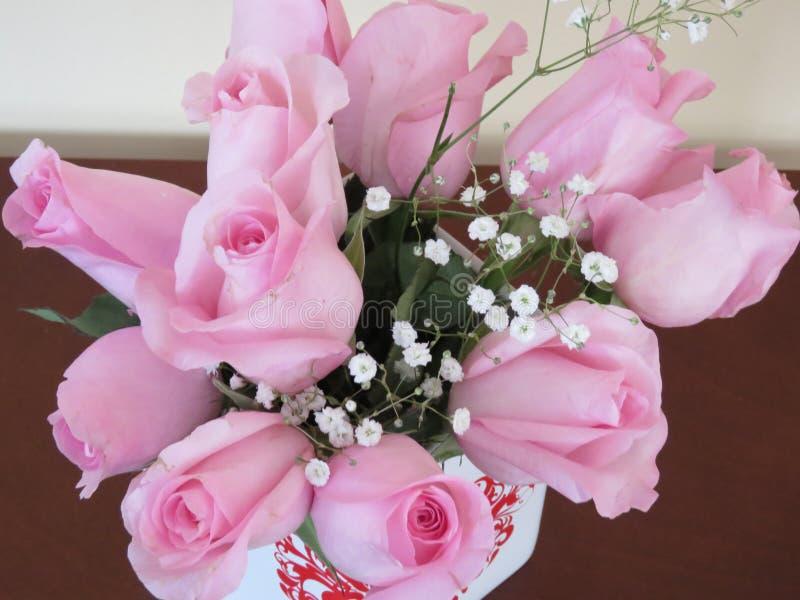 Roze rozen voor de de Dagdame van Valentine royalty-vrije stock foto