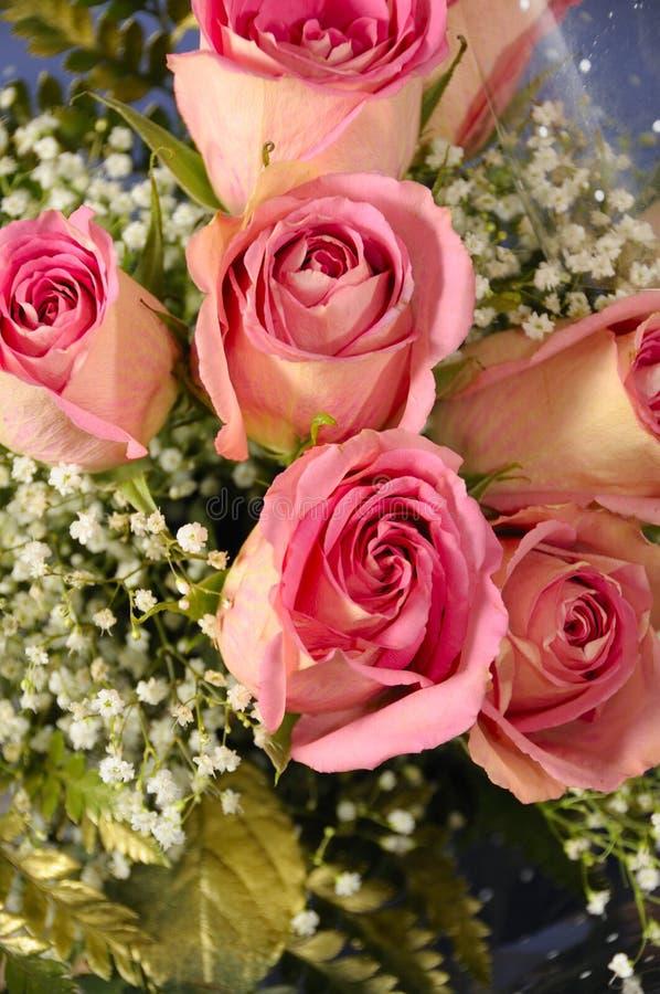 Roze rozenboeket royalty-vrije stock foto's