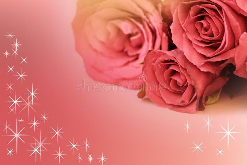 Roze rozenboeket met ster op achtergrond stock afbeelding