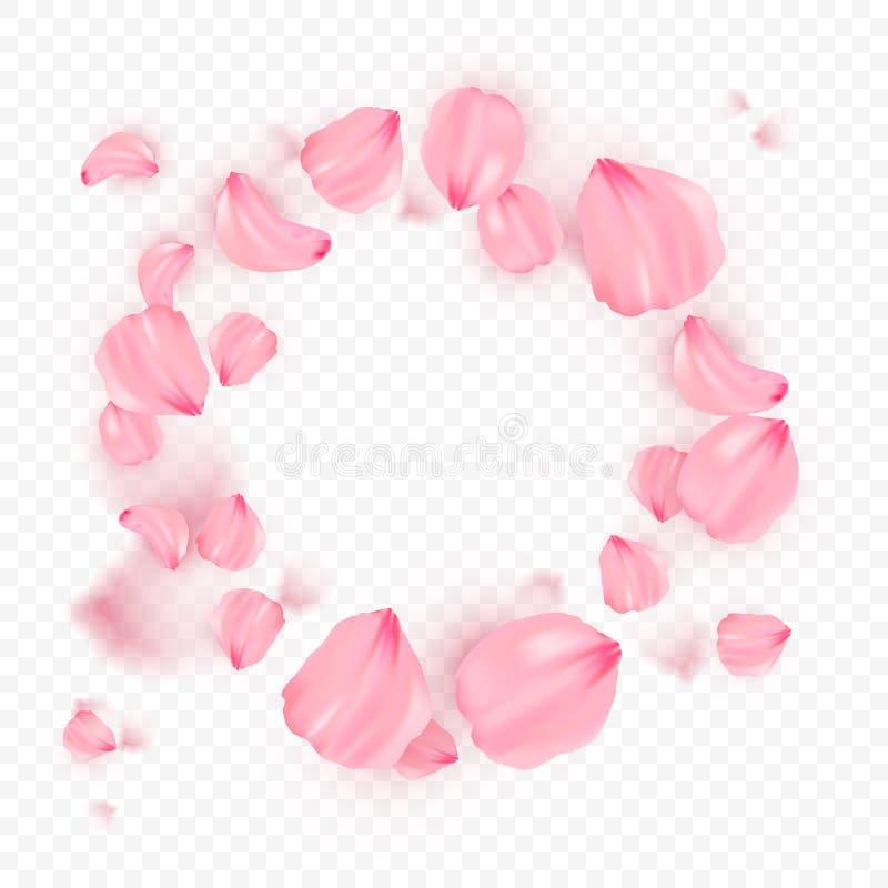 Roze sakura dalende bloemblaadjes op cirkel vectorachtergrond 3D romantische illustratie Transporentbanner met sakura stock illustratie