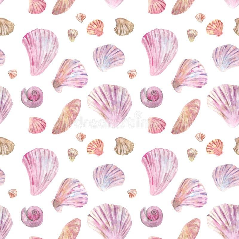 Roze shell waterverf naadloos patroon vector illustratie