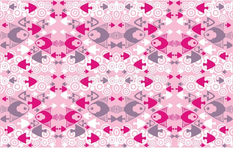 Roze sierachtergrond met decoratieve vissen vector illustratie