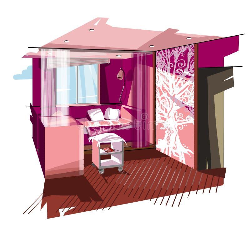 Roze slaapkamer royalty-vrije stock fotografie