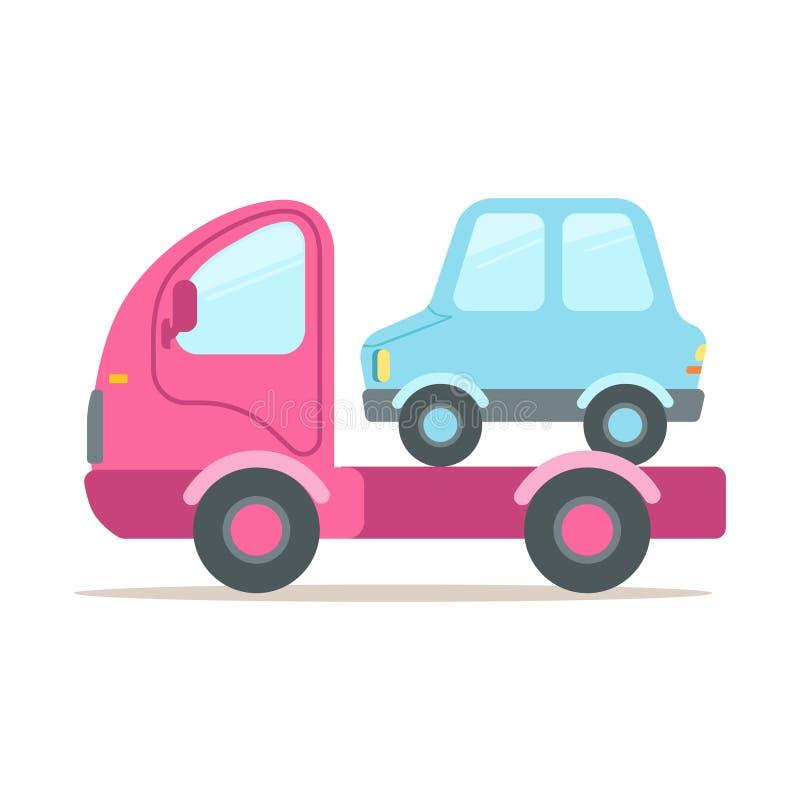 Roze slepenvrachtwagen, de dienst van vectorillustratie van het evacuatie de kleurrijke beeldverhaal royalty-vrije illustratie
