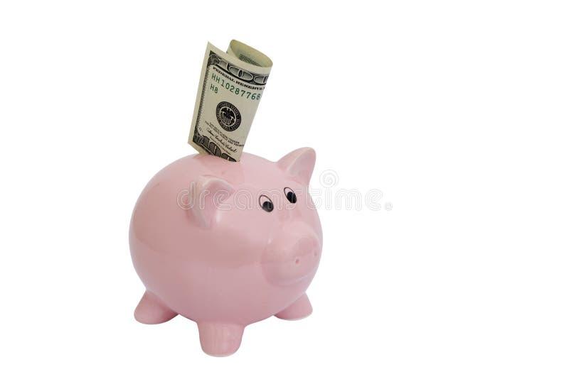Roze spaarvarken met hunderddollar bil stock foto