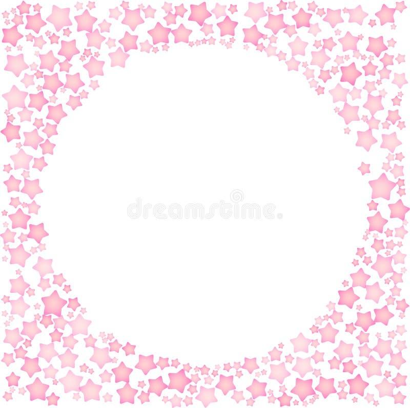 Roze sterren in een vorm van cirkelkader Ge?soleerde editable vectorillustratie op witte achtergrond royalty-vrije illustratie