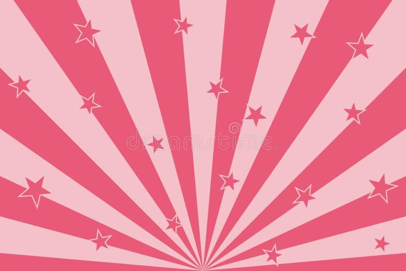 Roze sterren met de radiale achtergrond van stralen abstracte lijnen stock illustratie