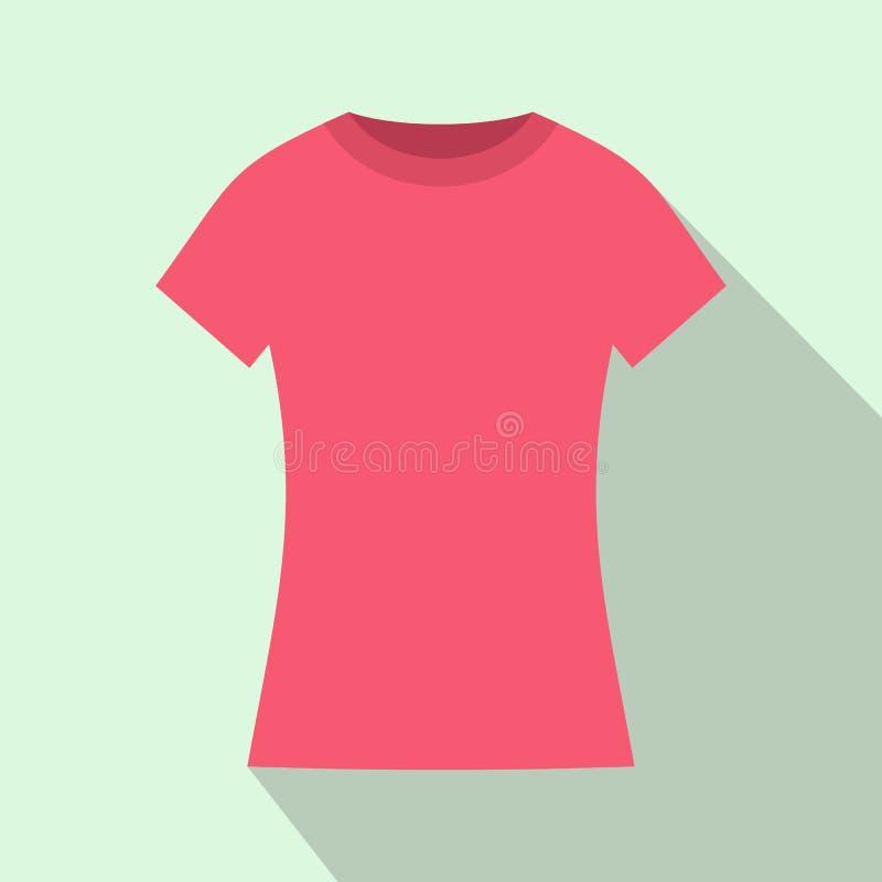 Roze t-shirtpictogram, vlakke stijl royalty-vrije illustratie