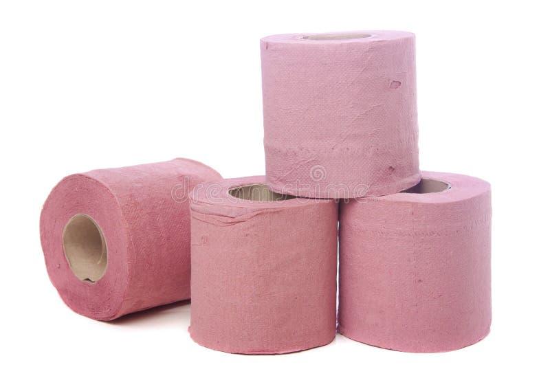 Roze toiletpapier stock fotografie