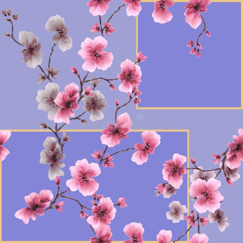 Roze tot bloei komende de pruimtak van het waterverf naadloze patroon op een purpere achtergrond royalty-vrije illustratie