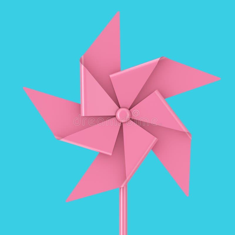 Roze Toy Pinwheel Windmill het 3d teruggeven royalty-vrije illustratie