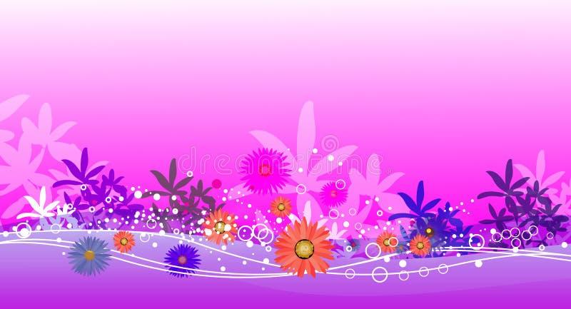 Roze tuin en water royalty-vrije illustratie