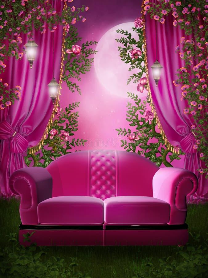 Roze tuin met een bank vector illustratie