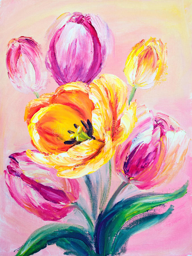 Roze tulpen, olieverfschilderij vector illustratie