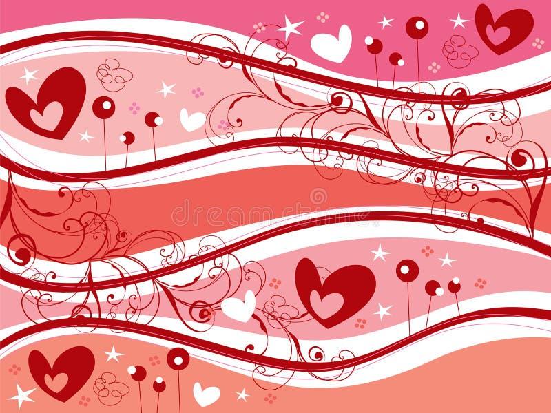 Roze valentijnskaartharten en wervelingen vector illustratie