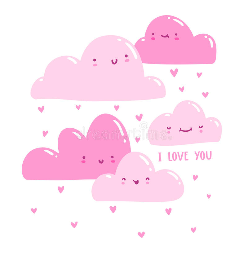 Roze valentijnskaartwolken royalty-vrije illustratie