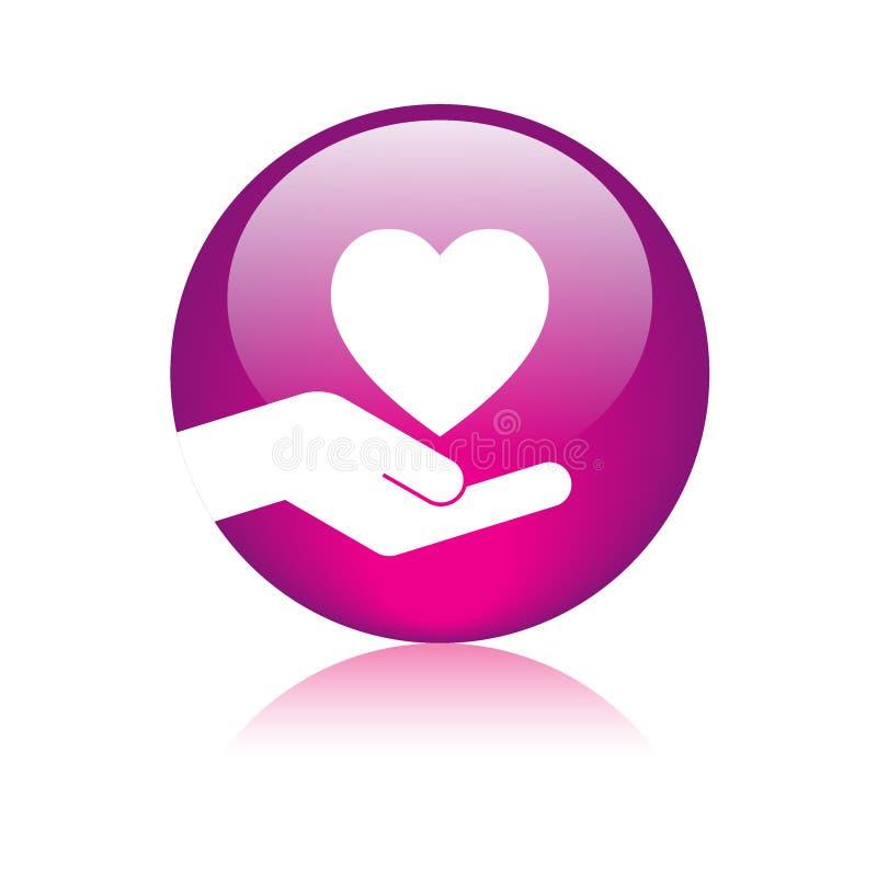 Roze van het hart in hand embleem stock illustratie