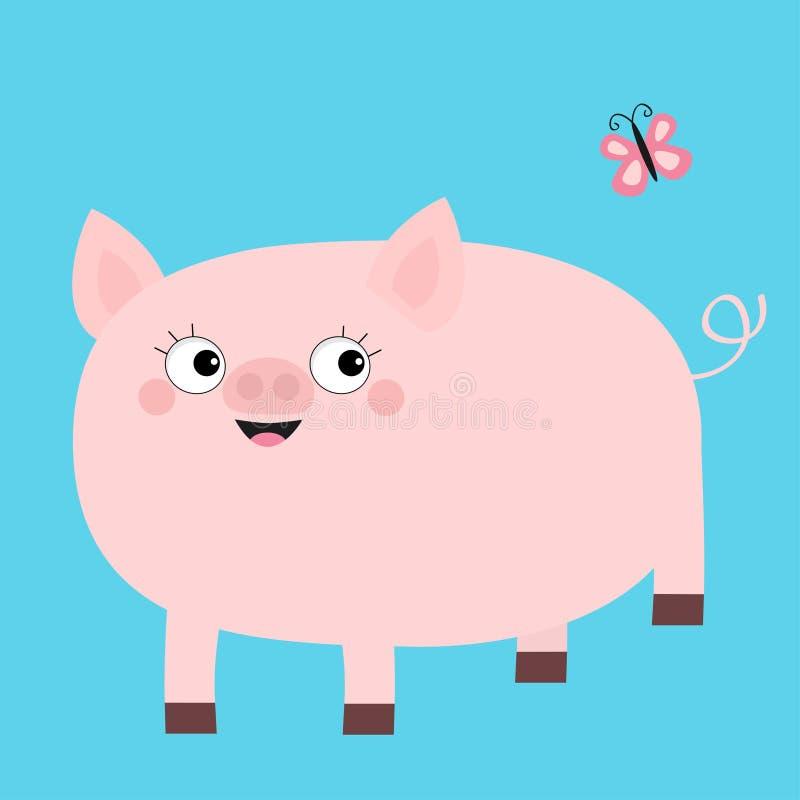 Roze varken die vlinder bekijken Het glimlachen gezicht Het leuke karakter van de beeldverhaal grappige baby De zeugdier van vark stock illustratie