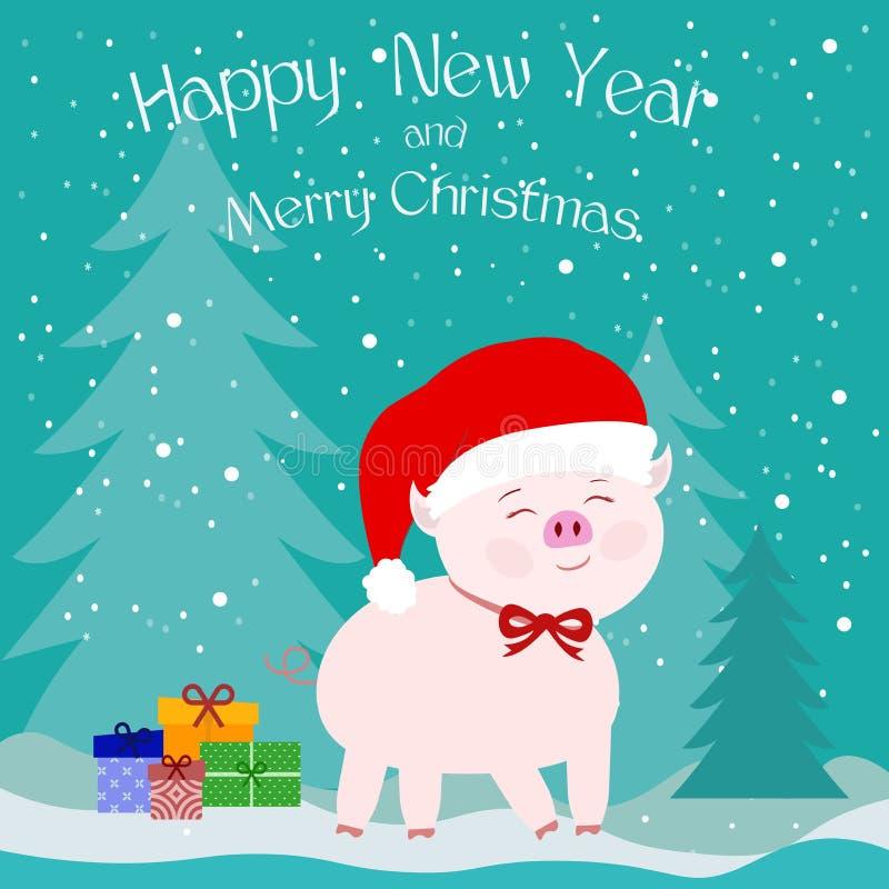 Roze varken in een hoed van Santa Claus met een rode boog in het bos met sneeuw en Kerstbomen en giftdozen op een blauwe achtergr vector illustratie