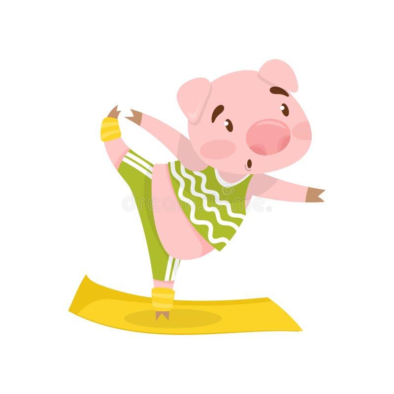 Roze varken in yogapositie Aanbiddelijk landbouwbedrijfdier in groene sportkleding Actieve training Vlak vectorontwerp stock illustratie