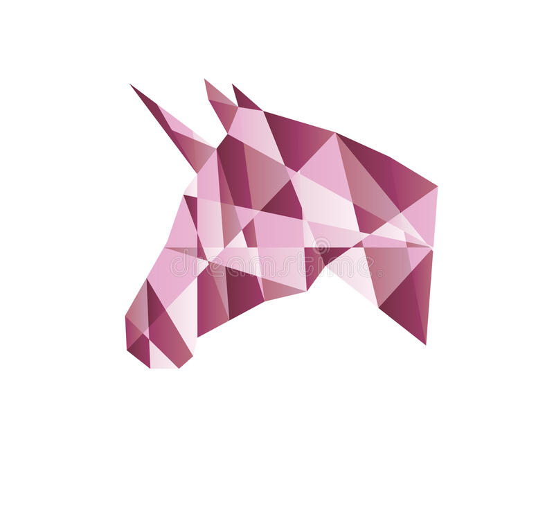 Roze vectoreenhoornhoofd stock afbeeldingen