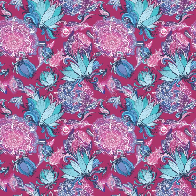 Roze Vectorpatroon met Lotus en Pioen royalty-vrije illustratie