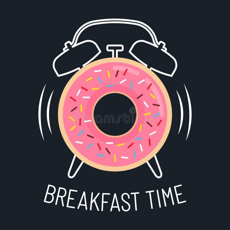 Roze verglaasde doughnut en wekker stock illustratie
