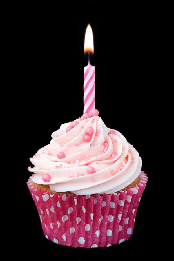 Roze verjaardag cupcake royalty-vrije stock foto's