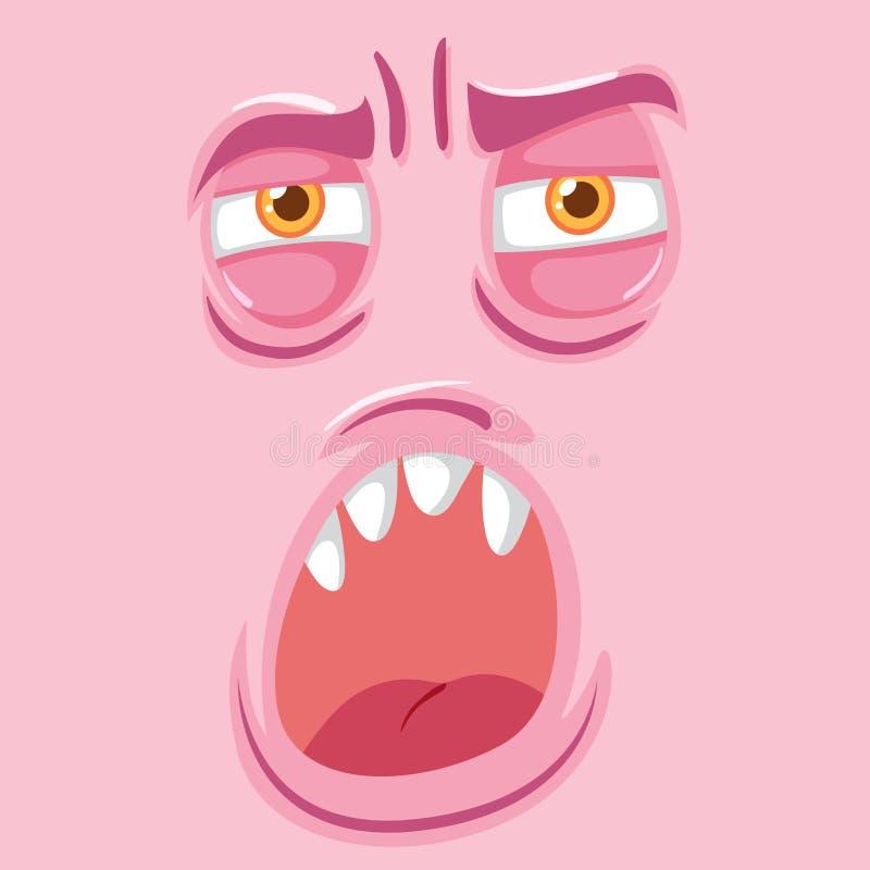 Roze vermoeid monstergezicht royalty-vrije illustratie