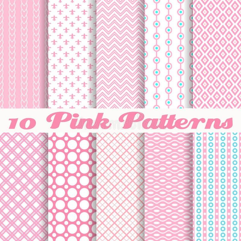 Roze verschillende vector naadloze patronen stock illustratie