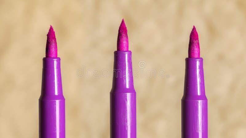 Roze vilt-uiteinde verstoord tellersuiteinde stock fotografie