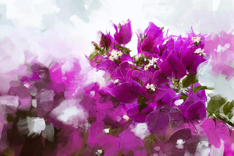 Roze visuele de stijlolieverfschilderijen van illustratiesbougainvillea - Voorraadbeeld royalty-vrije illustratie