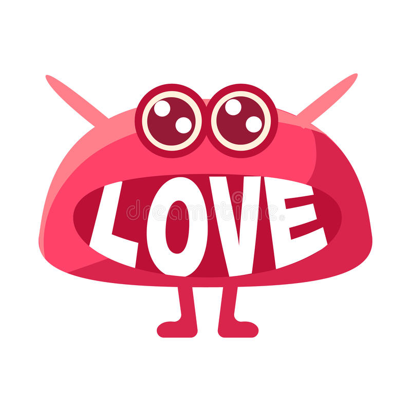 Roze Vlek die Liefde, Leuk Emoji-Karakter met Word in de Mond in plaats van Tanden zeggen, Emoticon-Bericht stock illustratie