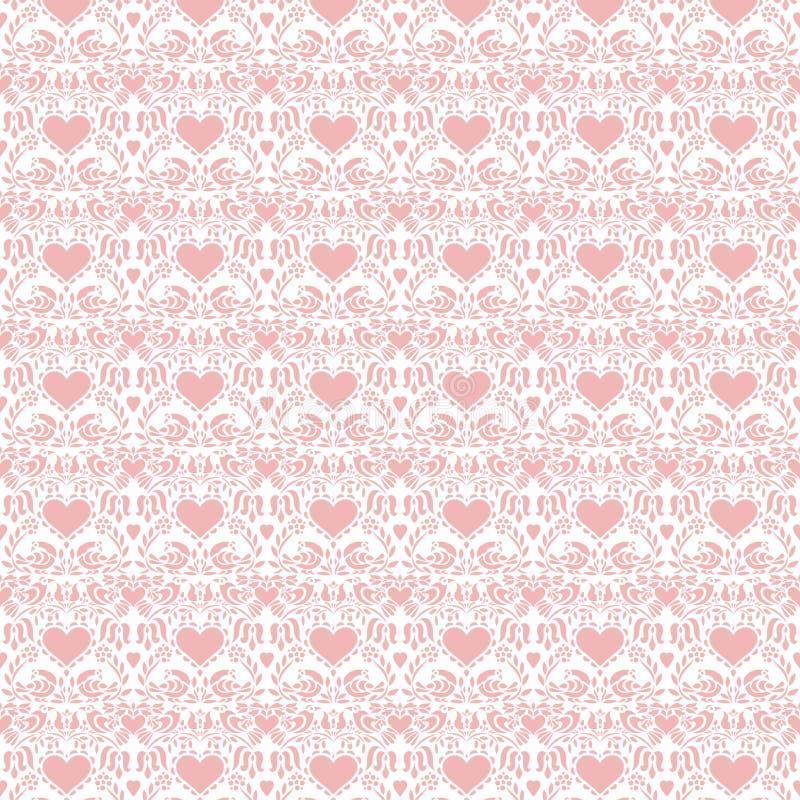 Roze volks de kunst naadloze achtergrond van valentijnskaartharten vector illustratie