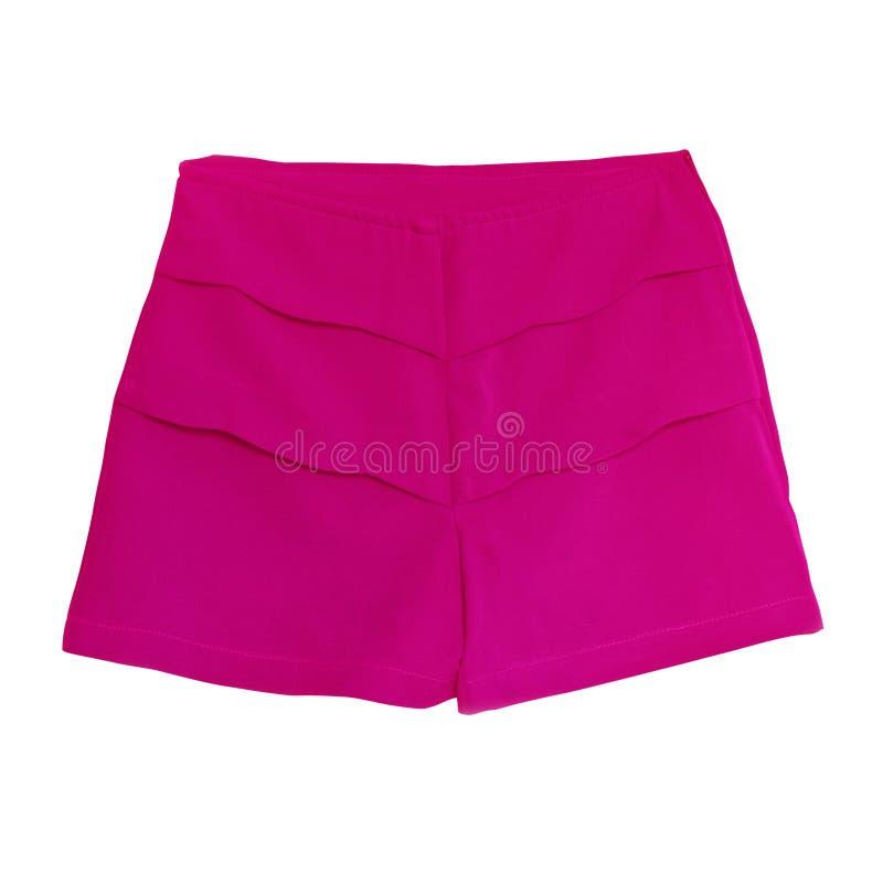 Roze vrouwelijke korte die broek op wit met werkende weg wordt geïsoleerd royalty-vrije stock fotografie
