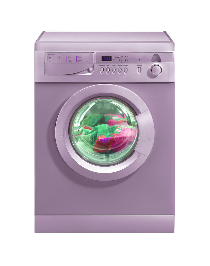 Roze wasmachine stock foto's