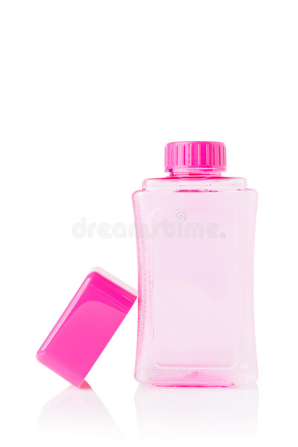 Roze Waterfles met GLB op wit stock foto